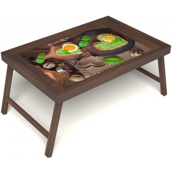 Столик для завтрака в постель «Русская берёза», «Полезный завтрак» без ручек цвет орех