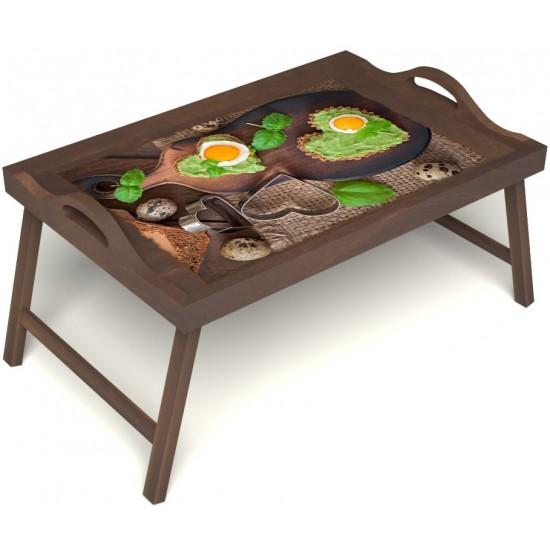 Столик для завтрака в постель «Полезный завтрак» с ручками цвет орех
