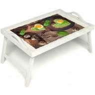 Столик для завтрака в постель «Полезный завтрак» с ручками цвет белый