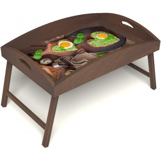 Столик для завтрака в постель «Русская берёза», «Полезный завтрак» с высоким бортиком цвет орех