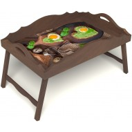 Столик для завтрака в постель «Русская берёза», «Полезный завтрак» с фигурным бортиком цвет орех
