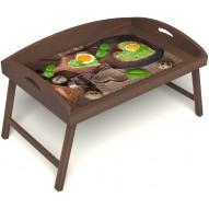 Столик для завтрака в постель «Русская берёза», «Полезный завтрак» с 3-мя высокими бортиками цвет орех