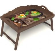 Столик для завтрака в постель «Полезный завтрак» с 3-мя фигурными бортиками цвет орех