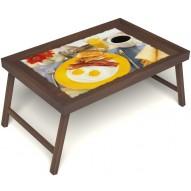 Столик для завтрака в постель «Русская берёза», «Яичница с беконом» без ручек цвет орех