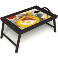 Столик для завтрака в постель «Яичница с беконом» с ручками цвет венге