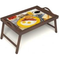 Столик для завтрака в постель «Русская берёза», «Яичница с беконом» с ручками цвет орех