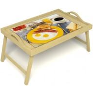 Столик для завтрака в постель «Яичница с беконом» с ручками цвет светлый