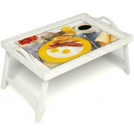 Столик для завтрака в постель «Яичница с беконом» с ручками цвет белый