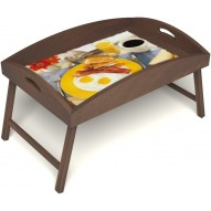Столик для завтрака в постель «Яичница с беконом» с высоким бортиком цвет орех