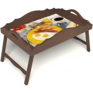 Столик для завтрака в постель «Русская берёза», «Яичница с беконом» с фигурным бортиком цвет орех