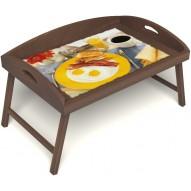 Столик для завтрака в постель «Русская берёза», «Яичница с беконом» с 3-мя высокими бортиками цвет орех