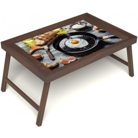 Столик для завтрака в постель «Русская берёза», «Яичница» без ручек цвет орех