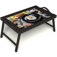 Столик для завтрака в постель «Яичница» с ручками цвет венге