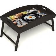 Столик для завтрака в постель «Русская берёза», «Яичница» с высоким бортиком цвет венге