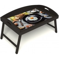 Столик для завтрака в постель «Яичница» с 3-мя высокими бортиками цвет венге