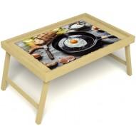 Столик для завтрака в постель «Русская берёза», «Яичница» без ручек цвет светлый