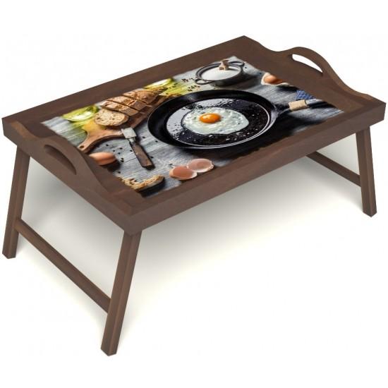 Столик для завтрака в постель «Русская берёза», «Яичница» с ручками цвет орех