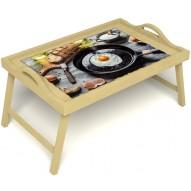 Столик для завтрака в постель «Русская берёза», «Яичница» с ручками цвет светлый