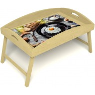 Столик для завтрака в постель «Русская берёза», «Яичница» с высоким бортиком цвет светлый