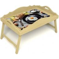 Столик для завтрака в постель «Русская берёза», «Яичница» с фигурным бортиком цвет светлый