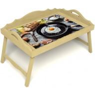 Столик для завтрака в постель «Русская берёза», «Яичница» с 3-мя фигурными бортиками цвет светлый