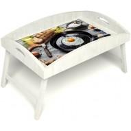 Столик для завтрака в постель «Русская берёза», «Яичница» с высоким бортиком цвет белый