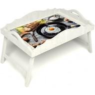 Столик для завтрака в постель «Русская берёза», «Яичница» с фигурным бортиком цвет белый