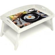 Столик для завтрака в постель «Русская берёза», «Яичница» с 3-мя высокими бортиками цвет белый