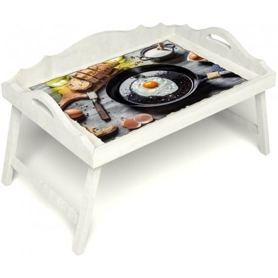Столик для завтрака в постель «Русская берёза», «Яичница» с 3-мя фигурными бортиками цвет белый
