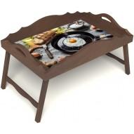 Столик для завтрака в постель «Русская берёза», «Яичница» с фигурным бортиком цвет орех