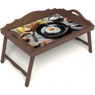 Столик для завтрака в постель «Яичница» с 3-мя фигурными бортиками цвет орех