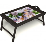 Столик для завтрака в постель «Черничное искушение» с ручками цвет венге