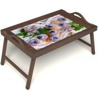 Столик для завтрака в постель «Черничное искушение» с ручками цвет орех