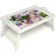 Столик для завтрака в постель «Черничное искушение» с ручками цвет белый