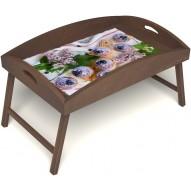 Столик для завтрака в постель «Черничное искушение» с высоким бортиком цвет орех