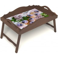 Столик для завтрака в постель «Русская берёза», «Черничное искушение» с фигурным бортиком цвет орех