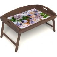 Столик для завтрака в постель «Русская берёза», «Черничное искушение» с 3-мя высокими бортиками цвет орех
