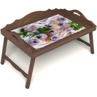 Столик для завтрака в постель «Черничное искушение» с 3-мя фигурными бортиками цвет орех