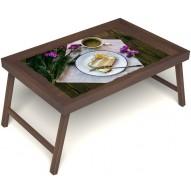 Столик для завтрака в постель «Русская берёза», «Десерт» без ручек цвет орех
