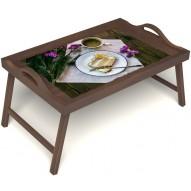 Столик для завтрака в постель «Десерт» с ручками цвет орех