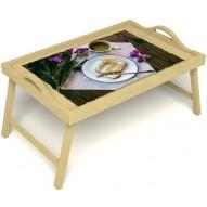 Столик для завтрака в постель «Десерт» с ручками цвет светлый