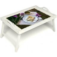 Столик для завтрака в постель «Десерт» с ручками цвет белый