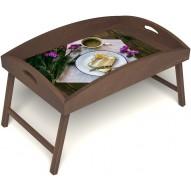 Столик для завтрака в постель «Десерт» с высоким бортиком цвет орех