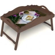 Столик для завтрака в постель «Русская берёза», «Десерт» с фигурным бортиком цвет орех