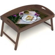 Столик для завтрака в постель «Русская берёза», «Десерт» с 3-мя высокими бортиками цвет орех