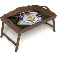 Столик для завтрака в постель «Десерт» с 3-мя фигурными бортиками цвет орех