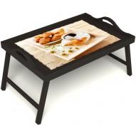 Столик для завтрака в постель «Французский завтрак» с ручками цвет венге