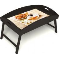 Столик для завтрака в постель «Русская берёза», «Французский завтрак» с высоким бортиком цвет венге