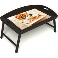 Столик для завтрака в постель «Русская берёза», «Французский завтрак» с 3-мя высокими бортиками цвет венге