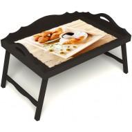 Столик для завтрака в постель «Русская берёза», «Французский завтрак» с 3-мя фигурными бортиками цвет венге